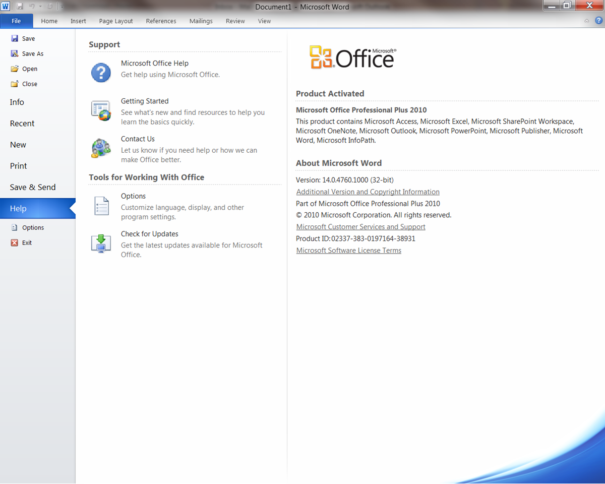 how to change office 2010 product key