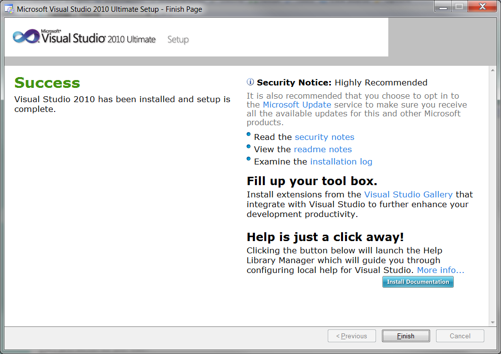 First use of Visual Studio 2010 : the installation